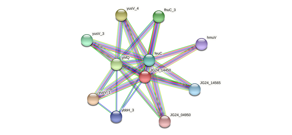 JG24_14450 protein (Klebsiella pneumoniae) - STRING interaction network