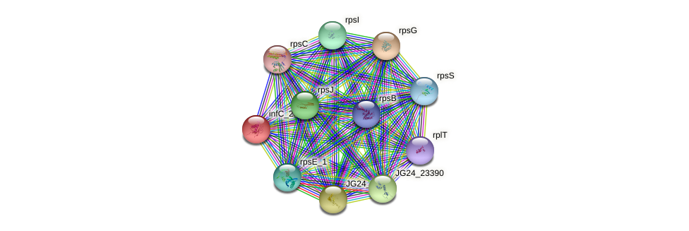 infC protein (Klebsiella pneumoniae) - STRING interaction network
