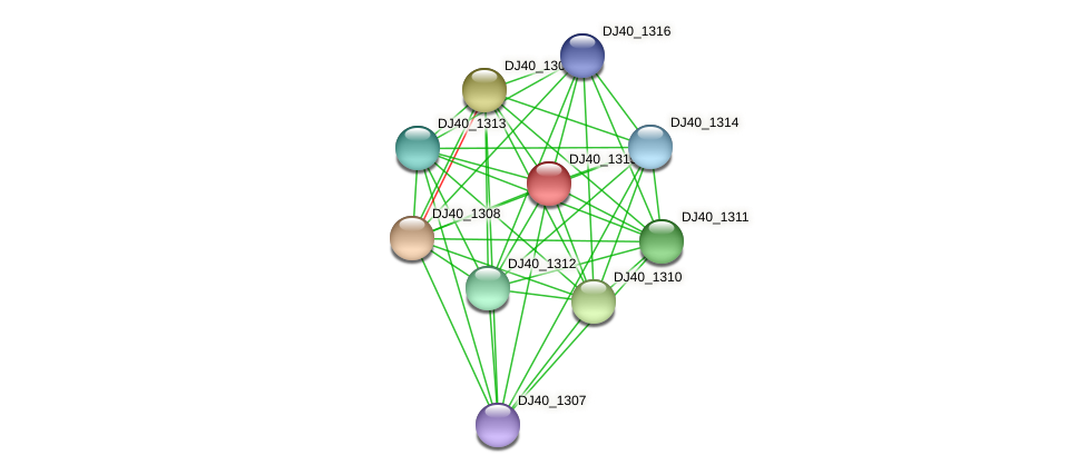 DJ40_1315 protein (Yersinia pseudotuberculosis) - STRING interaction network