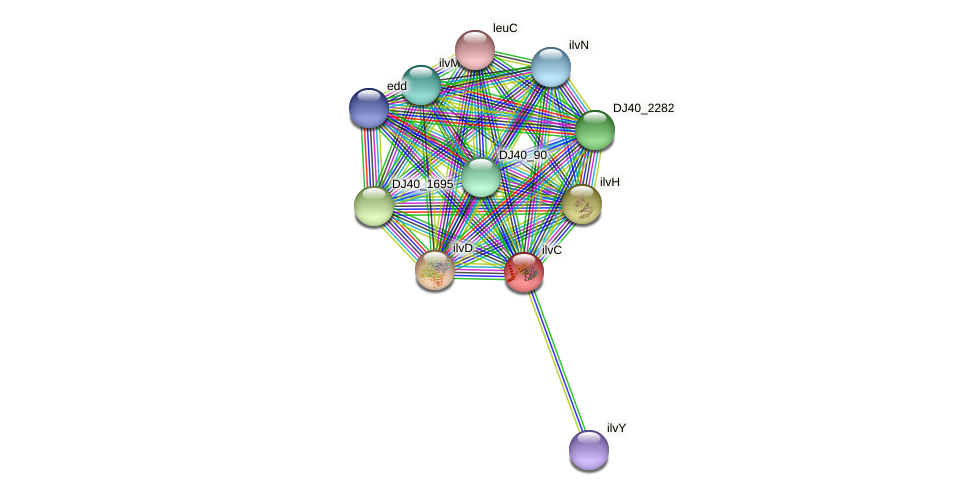 ilvC protein (Yersinia pseudotuberculosis) - STRING interaction network