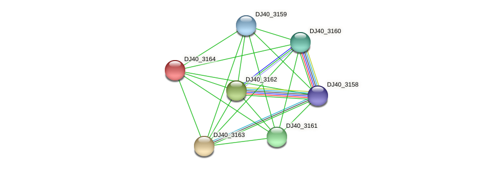 DJ40_3164 protein (Yersinia pseudotuberculosis) - STRING interaction network