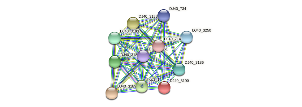DJ40_3190 protein (Yersinia pseudotuberculosis) - STRING interaction network