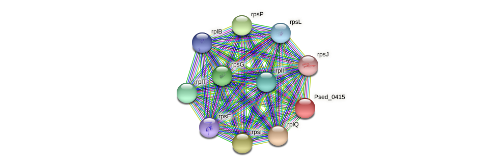 Psed_0415 protein (Pseudonocardia dioxanivorans) - STRING interaction network
