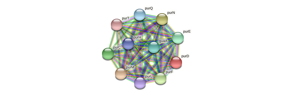 purD protein (Pseudonocardia dioxanivorans) - STRING interaction network