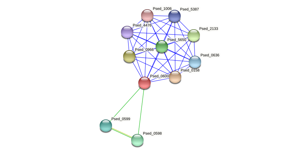 Psed_0600 protein (Pseudonocardia dioxanivorans) - STRING interaction network