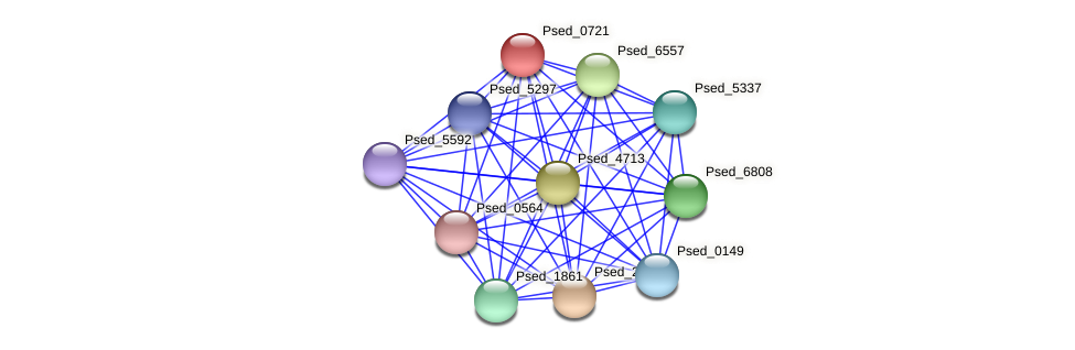 Psed_0721 protein (Pseudonocardia dioxanivorans) - STRING interaction network