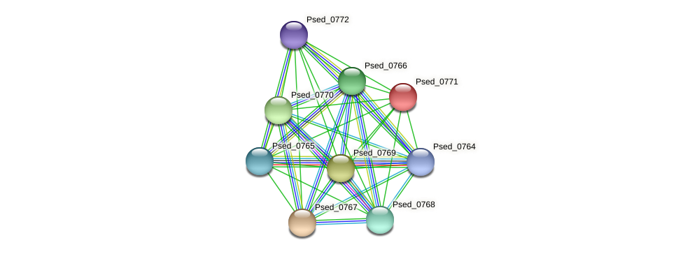 Psed_0771 protein (Pseudonocardia dioxanivorans) - STRING interaction network