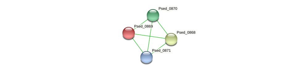 Psed_0869 protein (Pseudonocardia dioxanivorans) - STRING interaction network