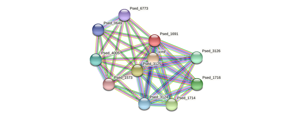 Psed_1691 protein (Pseudonocardia dioxanivorans) - STRING interaction network