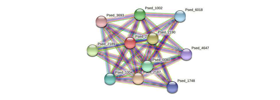 Psed_2188 protein (Pseudonocardia dioxanivorans) - STRING interaction network