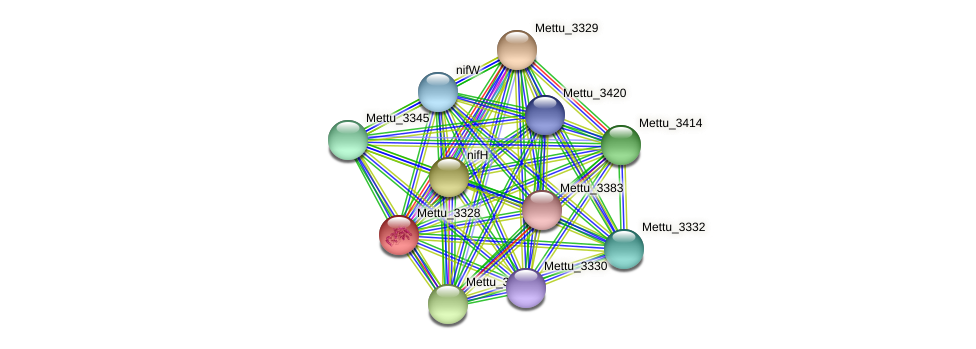 Mettu_3328 protein (Methylobacter tundripaludum) - STRING interaction network