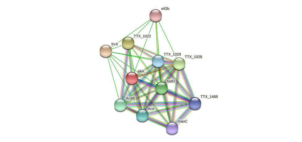 alkK protein (Thermoproteus tenax) - STRING interaction network