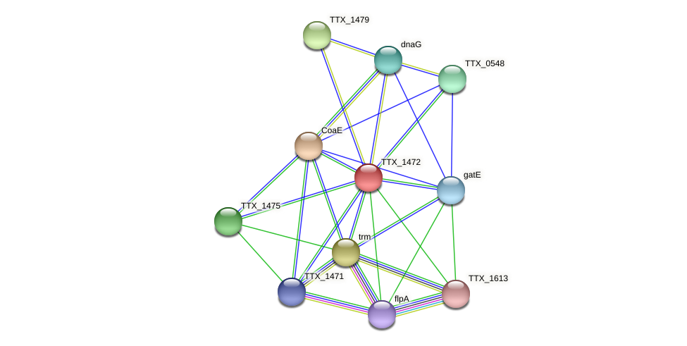 TTX_1472 protein (Thermoproteus tenax) - STRING interaction network