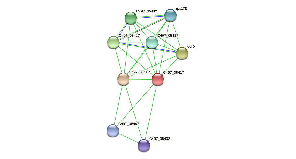 C497_05417 protein (Halalkalicoccus jeotgali) - STRING interaction network