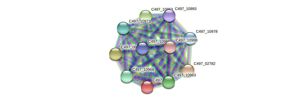 C497_10958 protein (Halalkalicoccus jeotgali) - STRING interaction network