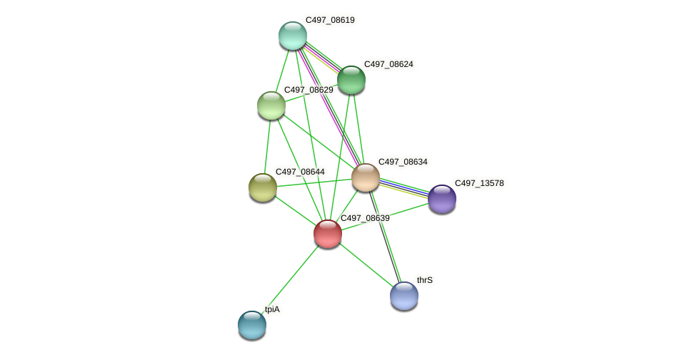 C497_08639 protein (Halalkalicoccus jeotgali) - STRING interaction network