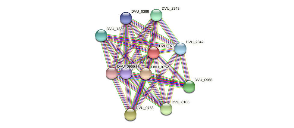 DVU_0751 protein (Desulfovibrio vulgaris Hildenborough) - STRING interaction network