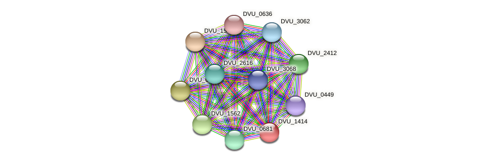 DVU_1414 protein (Desulfovibrio vulgaris Hildenborough) - STRING interaction network