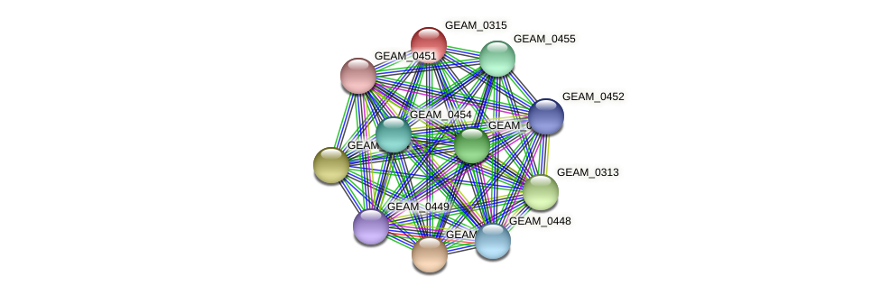 GEAM_0315 protein (Ewingella americana) - STRING interaction network